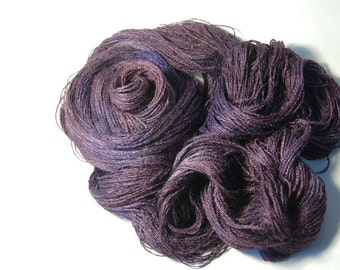 Tussah Silk LACE in Aubergine and Lavender - One of a Kind