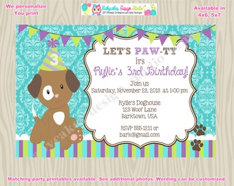 Puppy Birthday Invitation Puppy Party Invitation Puppy invitation - DIY Print Your Own - Matching Party Printables available