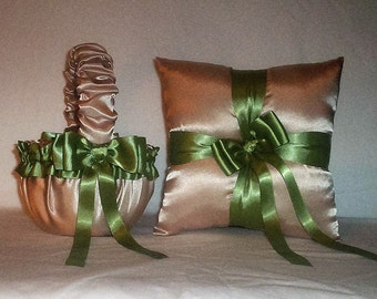 Champagne Satin With Sage Green Trim Flower Girl Basket And Ring Bearer Pillow