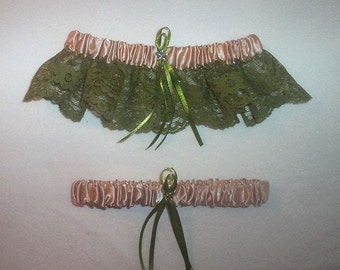 Champagne Satin /  Sage Green Lace - 2 Piece Wedding Garter Set - 1 To Keep / 1 To Throw