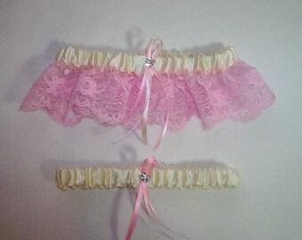 Ivory Cream Satin / Light Pink Lace - 2 Piece Wedding Garter Set - 1 To Keep / 1 To Throw