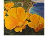 Big Sur,Poppies on Shoreline California Highway 1, Pacific Ocean coast Landscape, Original Artist Print Wall Art, Free shipping in USA.
