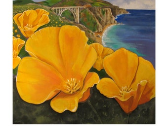 Big Sur,Poppies on Shoreline California Highway 1, Pacific Ocean coast Landscape, Original Artist Print Wall Art, Free shipping in USA.