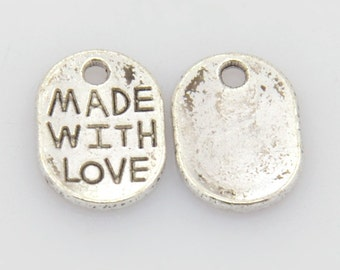 Made With Love Charms Antiqued Silver Oval Jewelry Tags 25 pieces WHOLESALE Bulk 11mm