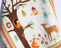 Baby Quilt, FLANNEL Baby Boy Girl Bedding, Woodland Forest, Deer Fox Owls, Outdoor Nature, Nursery Crib Blanket Blue Brown Ready to Ship