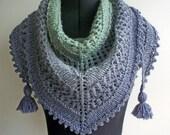 Green & Blue Shawl, Artisan Handspun Knit Shawl, Unique Shawlette, Gradient Shawl, OOAK Handspun Wrap, Merino, Shetland, Silk, BFL, Tassels