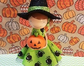 Andie Halloween Witch Miniature Wooden Clothespin Doll