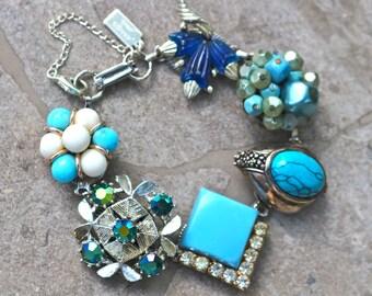 Vintage Earring Bracelet, Reclaimed Vintage Bracelet, Bridesmaid Gift, Wedding, Stocking Stuffer, Turquoise, Under 40, OOAK - Blue Heaven