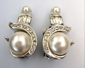 Vintage Faux Pearl and Rhinestone Earrings - Art Deco - Signed MX 619