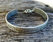 """Go then, there are other worlds than these - 3/8"""" brushed aluminum cuff with turtle charm, Dark Tower, Stephen King, Dark Tower Jewelry"""