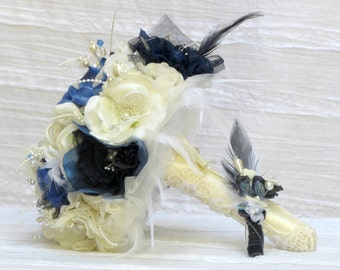Something blue wedding bouquet set, blue brooch bouquet, something blue bridal bouquet,sapphire blue wedding bouquet, royal blue bouquet set