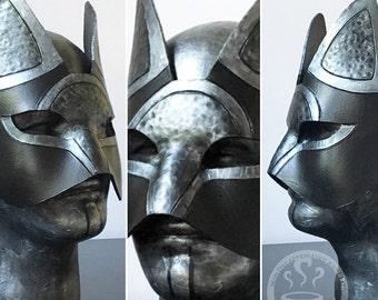 Black Armor Leather Cat Mask - Handmade Warrior Costume Fantasy Renaissance Festival Masquerade