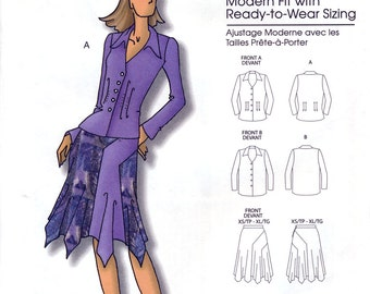 Butterick B5106 by Connie Crawford Misses' Blouse and Skirt Sewing Pattern - Uncut - Size Xsm, Sml, Med, Lrg, Xlg