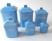 6 French Vintage Faience Retro Deco Canisters Complete Set with Lids