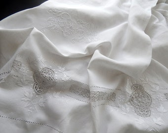 SALE French Antique Linen Sheet w/Fine Embroidery
