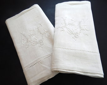 Pair Vintage Linen French Bed Sheets with Embroidery