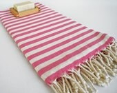 SALE 50 OFF/ Turkish Beach Bath Towel Peshtemal / Pink Striped / Bath, Beach, Spa, Swim, Pool Towels