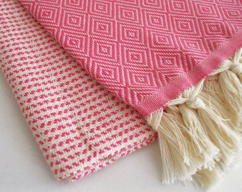 BathStyle / Diamond Turkish Head&Hand Towel / Pink /  Wedding Gift, Spa, Swim, Pool Towels