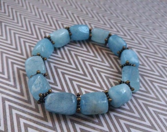 Large Aquamarine Gemstone Stretch Bracelet with Antiqued Gold Plated Brass Accents