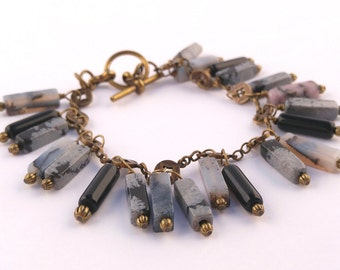 Black & Gray Gemstone Bracelet With Antique Gold/ Brass Accents - One of a Kind