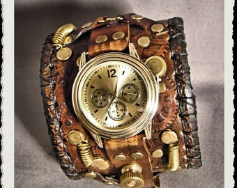 Steampunk leather watch *  brown *