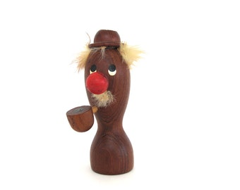 Mid Century Teak Candle Holder Wooden Man Red Nose Pipe Figurine Danish Modern Candlestick Holder Figure Funny Man Cave Candleholder