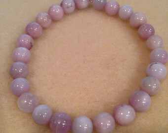 Kunzite Round 8mm Bead Stretch Bracelet with Sterling Silver accent