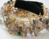 Necklace Garland of Gems Crocheted Goldfilled Wire Leather Chain