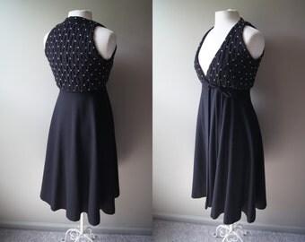 Vintage Black Wrap Dress Extra Small Dress Black Dress Wrap Dress XS Dress Full Skirt Petite Round Skirt Long Skirt Spin Twirl Rhinestone