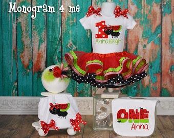 Watermelon Birthday tutu set, Picnic birthday tutu, First birthday tutu set, Bib, Bloomers, headband