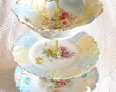 Pale Blue 3-Tier Serving Dish, Vintage Centerpiece Display with Fruit Bowl, Tiered Floral Tea Tray, Dessert Pedestal By High Tea for Alice