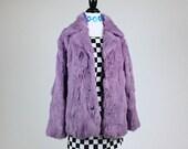 90's Lavender Rabbit Fur Coat // XL