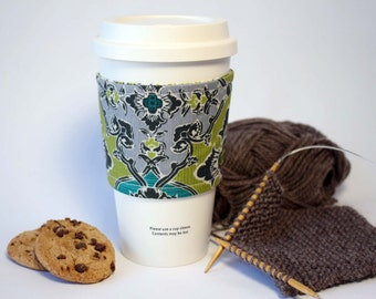 Teal, Green and Gray Reversible & Reusable Coffee Cup Sleeve, Coffee Cozy, Cup Cozy, Tea Cozy (Standard Size)