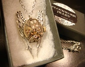 Time Fly's-  Watch Movement on Angel Wings Steampunk  Necklace (2094)