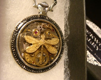 Clockwork Dragonfly Steampunk Pocket Watch Pendant Necklace -Made with Real Watch Parts (2216)