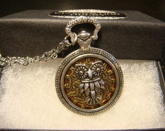 Owl over Etched Gear Pocket Watch Style Pendant Necklace (1977)
