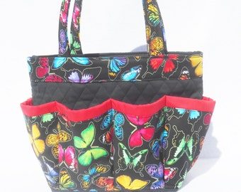 Colorful Butterfly Bingo Bag // Craft Organizer // Makeup Organizer // Caddy // Teacher Tote // Nurse Tote