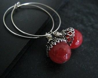 Pink Agate Earrings   Gemstone Hoops   Sterling Silver Hoop Earrings   Interchangeable Earrings