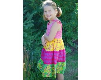 Girls Tiered Dress Batik, Girls Ruffle Dress Tiered, Batik Ruffle Dress, Girls Batik Dress Tiered, Girls Dress
