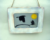 New! Flying Ravens with Harvest Yellow Moon Antiqued Accent Mirror Rustic Black Bird Crow Boho Country Primitive Fall Home Decor Wall
