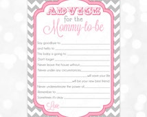 Pink Advice Card Chevron Gray Girl Baby Shower Advice Game Card Party Printable Baby Girl Activity PDF Advice Card Mommy To Be (#15)