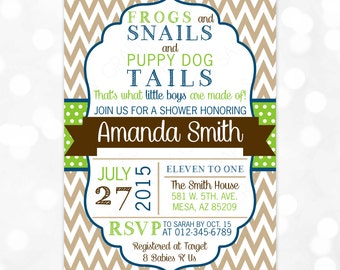 Boy Baby Shower Invitation Frogs Snails Puppy Dog Tails Chevron Navy Blue Green Brown Baby Shower Invite Boy DIY Printable Invite PDF (#120)