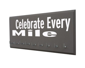 Race Medal display rack, Celebrate every mile inspirational medal holder for runners, Running gifts, 5k, 10k, Half-marathons and Marathons