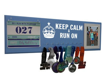 Medals and bibs display - running medals and race bibs holder - running medals and race bibs hanger - Keep calm and run on