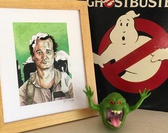 "Bill Murray as Peter Venkman, Ghostbusters Watercolor Print, 8""x10"", Stay Puft Marshmallow Man, Slimer, Harold Ramis, Zuul, Dan Aykroyd"