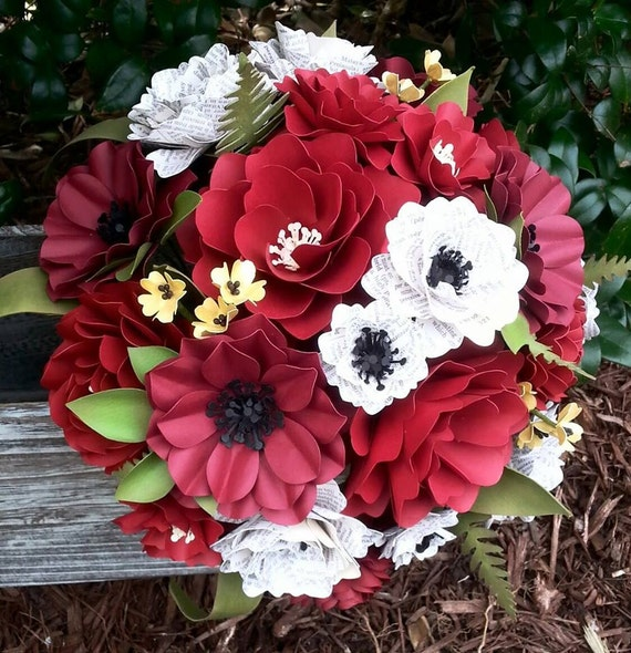 Paper Bouquet - Paper Flower Bouquet - Wedding Bouquet - Red with Book Pages - Custom Made - Any Color