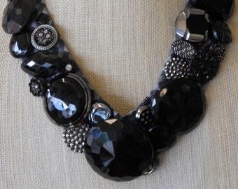 Antique Black Glassl Buttons  Necklace - OOAK, Unique, Repurpose, Upcycle, Boho