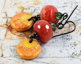 Boho Earrings Orange Yellow Red Charms Wirewrapped Natural Brass