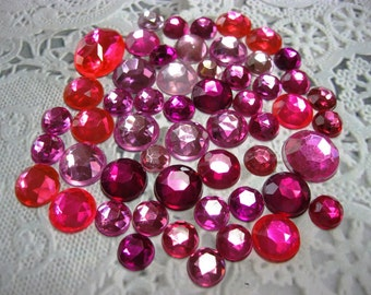 50 Flat Back Rhinestones Acrylic Gems in Pink for Scrapbooking Cards Mini Albums and Papercrafts Jewelry DIY