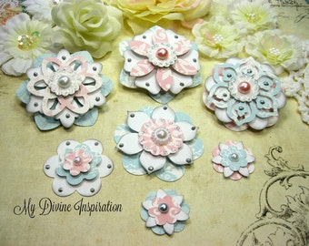Teresa Collins Sweet Afternoon Handmade Paper Flowers, Paper Embellishments for Scrapbook Layouts Cards Mini Albums Tags and  Paper Crafts